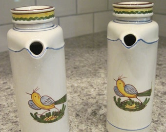 Mancer Pottery Italy Oil & Vinegar Cruets Bird Design