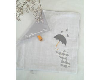 Square elephant gray jersey and white Swaddle blanket