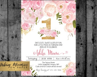 Pink Floral First Birthday, Pink Watercolor Birthday Invitation, Flowers, Floral, Shower Invitation, Floral, Flower Invite, first, gold