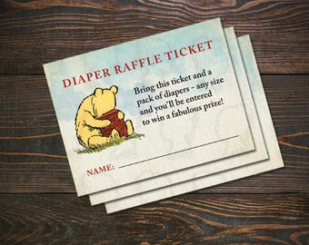 """Classic Winnie the Pooh Printable 3"""" x 4"""" Diaper Raffle Tickets, Winnie the Pooh Baby Shower Diaper Raffle Tickets, Instant Download"""