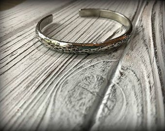 Heavy Hammered Sterling Silver Cuff