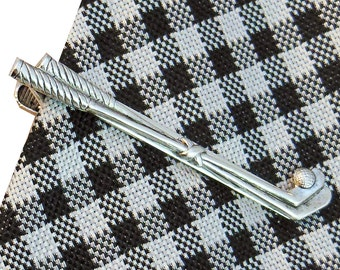 Golf Tie Bar,  Tie Clip for Golfer, Silver Golf Club Clip
