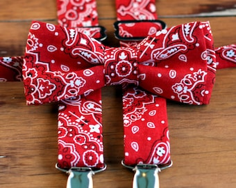 Boys Suspenders Bow Tie Set - Cowboy Bandana Bow Tie Suspenders Set - First Birthday Outfit - Country Wedding Ring Bearer - Baby Outfit