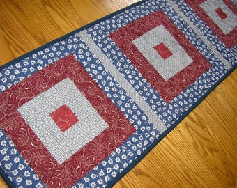 Quilted Table Runner, Quilted Navy and Burgundy Runner, Vintage Print Runner, 14  x 42 inches