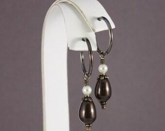 Clip on earrings Gunmetal clip hoop Swarovski Dark Brown TierraCast Antique brass