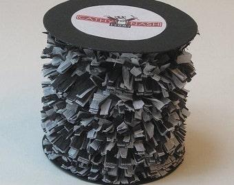 Handmade Crepe Paper Fringe Black and White