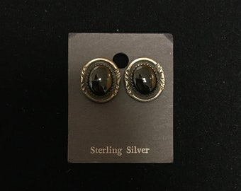 Sterling Silver Earrings with Onyx Stones