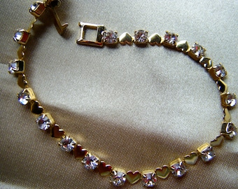 Gold Heart and Rhinestone Bracelet, 7 inch length// res Shipping