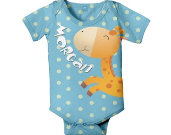 Baby Bodysuit, Personalized Giraffe Gender Neutral Boy Girl Aqua Infant One Piece, Snapsuit