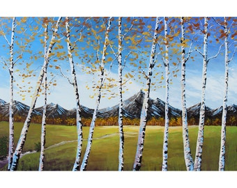 Original  abstract landscape painting of Aspen trees and mountain  Modern Impressionism creek stream Contemporary24x36