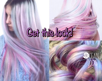 Moonlight Hair, Grey, Lavender, Hair Extensions, Ombre Hair Extensions, Pastel Hair, Hair Extensions Clip in, Thick Hair