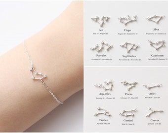 Silver Constellation Bracelet, Silver Zodiac Bracelet, Zodiac Sign Bracelet, Delicate Bracelet, Personalized Bracelet, Birthday Bracelet