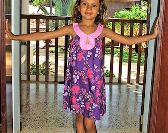 A shape dress for girls, purple floral print, summer dress, Aummade, kids fashion