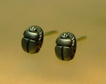 Tiny Sterling Scarab Stud Earrings, Egyptian jewelry, Art Deco earrings, Oxidized Silver, Made to Order