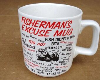fisherman fishing mug,fisherman gift funny humor excuse ceramic mug,mancave game room bar room decor