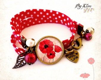 Liberty bracelet Cabochon • poppies flowers red white polka dot worm •