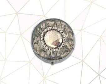 Boîte à pilules facettée bijou incrusté dans la main peint émail gris tourbillon Design géométrique inspiré avec des Options personnalisées disponibles