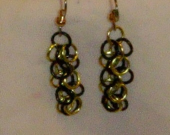 Anodized Aluminum Shaggy Loops Weave Chainmaille Earrings