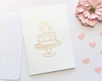 Birthday / Celebration Cake: Embossed Greeting Card