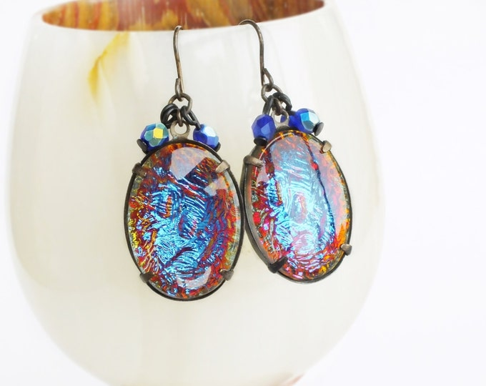 Iridescent Glass Earrings Large Vintage Rainbow Crystal Rhinestones Earrings Luxe Statement Jewelry
