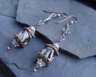 Lantern Light Earrings - Black Diamond Glass and Crystal with Copper