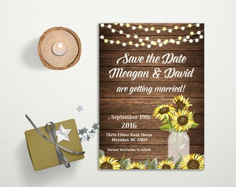 Sunflower Save the date Card Printable, Rustic Save the Date Card digital, Mason Jar country fall wedding Save the date