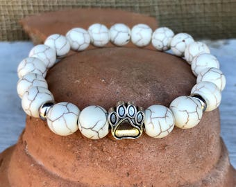 Pet Lovers! Stretch yoga bracelet with center silver paw bead in 10mm white turquoise. Rustic. Handmade.