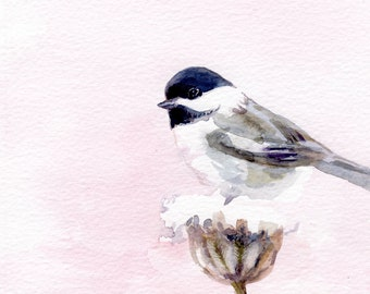 Chickadee painting, Bird original watercolor, Delicate pink art, bird lovers gift