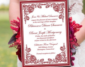 """Printable Wedding Invitation Template - Burgundy Red """"Exquisite Roses"""" DIY Wedding Template Printable Invitation Instant Download Invitation"""
