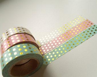 Masking Tape Washi Tape tape 10 m gold dots