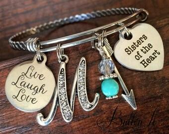 Sisters of the Heart, Best FRIEND Gift, friend birthday gift, friendship bracelet, bangle charm bracelet Live Laugh Love, Initial, Mom group