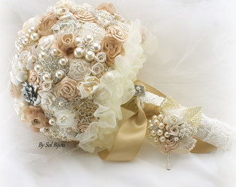 Gold Ivory Champagne Brooch Bouquet Wedding Bouquet Jeweled Fabric Broach Bouquet Vintage Gatsby Wedding Pearl Bouquet