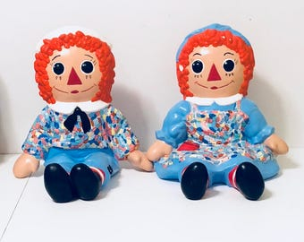 Vintage Bobbs Merrill Ceramic Bookends Raggedy Ann and Andy- 1970s