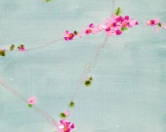 Flores de primavera. Pintura  acrilica sobre papel.pintura original, colores pastel