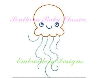 Jellyfish Jelly Fish Row Sketch Fill Stitch Embroidery Design File Embroidery Machine Monogram Nautical Cute Boy Quick Stitch
