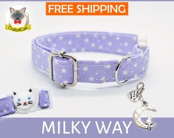 Breakaway cat collar 'Milky Way',violet cat collar, star cat collar,kitten collar,galaxy cat collar,moon cat collar,cute,bell,Crafts4Cats