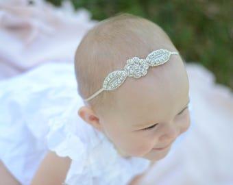 Baby headband, baptism headband, christening headband, christmas headband, rhinestone headband, newborn headband, flower girl headband