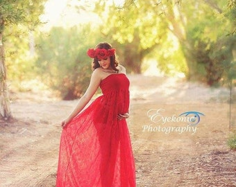 Red Lace Maternity Gown, Lace Maternity Dress, Maternity Photo Props, Bridal, Bridesmaid Dress, Senior Photo