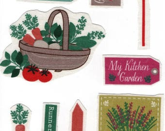 Set of 9 applique textile: vegetable garden 9 images for your customisations