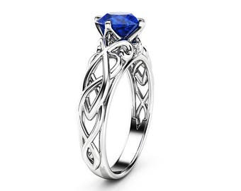 Victorian Natural Blue Sapphire Engagement Ring 14K White Gold Ring Unique Art Deco Engagement Ring