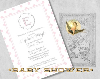 Sweet Classics Baby Shower Invitations for a Girl with Monogram - Light Pink - Polka Dot Simple Baby Girl Shower - Printed Invitations