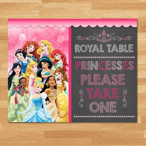 Disney Princess Favor Table Sign - Chalkboard - Princess Party Favor Sign - Disney Princess Birthday Party - Princess Printables - Instant