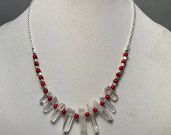Crystal Points with Coral Beads Necklace