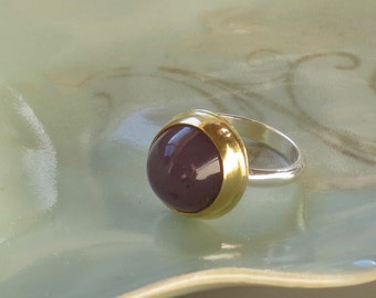 22k Holly Lavender Chalcedony Bezel Sterling Ring