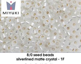 8/0 silverlined matte crystal - 1 F - seedbeads