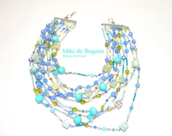 Blue statement necklace with glass beads and Swarovski crystal