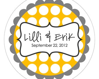 Bracket Frame on Bold Dots . Personalized Wedding Stickers or Tags