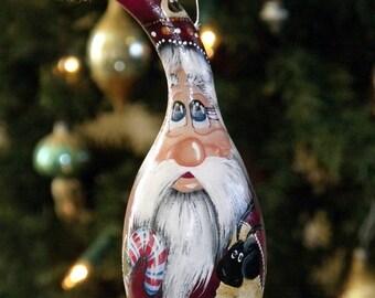 Hand Painted Red Santa and Sheep Gourd Ornament - Folk Art Santa - Primitive Santa - Gourd Ornament - Christmas Decor - Holiday Decor-Santa