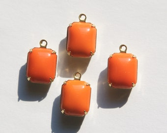 Vintage Orange Stones in 1 Loop Brass Setting 12mm x 10mm oct005C