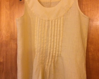 Beautiful Buttery Flax Linen Pleated Blouse